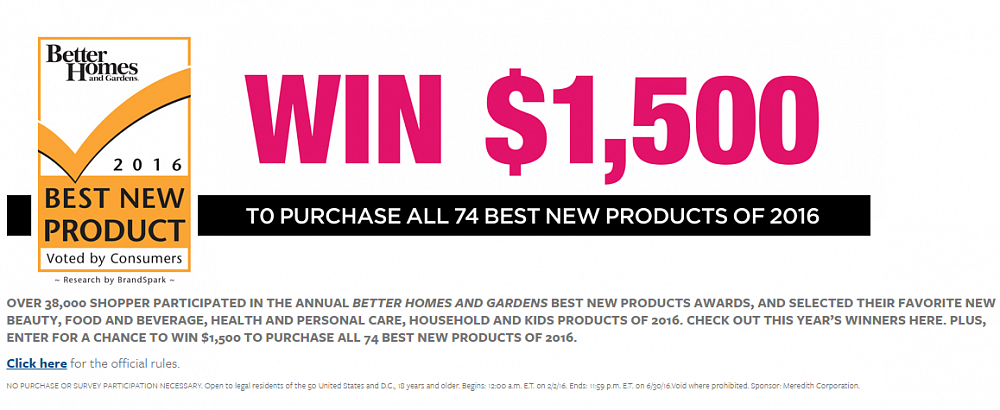 Better Homes And Gardens Best New Products Sweepstakes