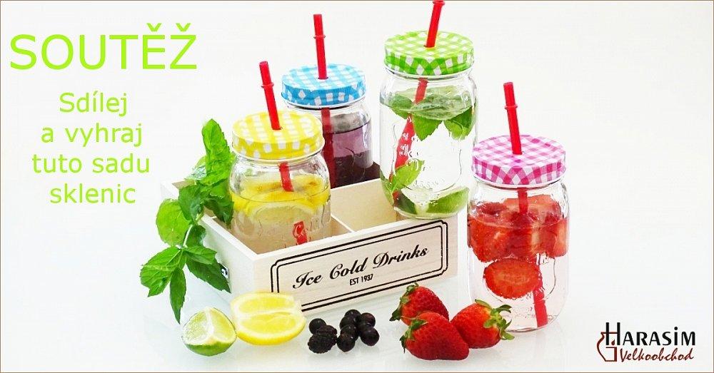 Soutěž o letní sadu 4 sklenic s víčkem a brčkem