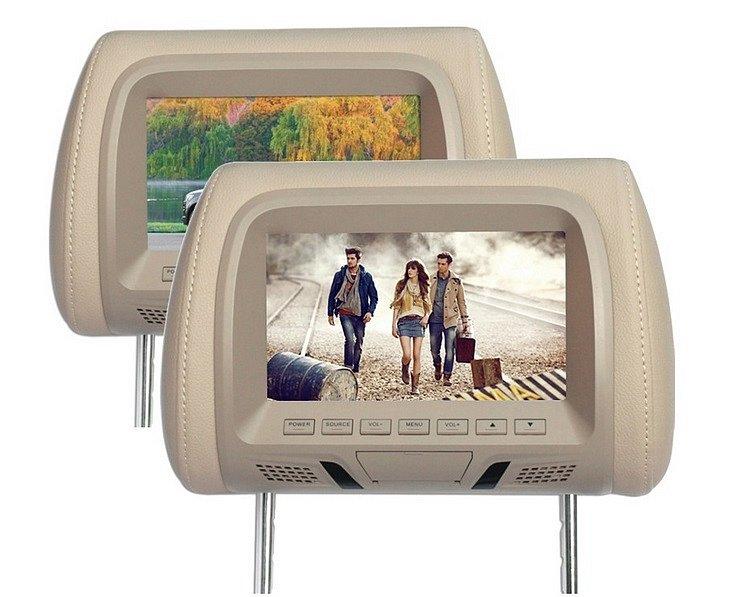 """Opěrka hlavy z monitorem 7"""" LCD, na SD/USB"""