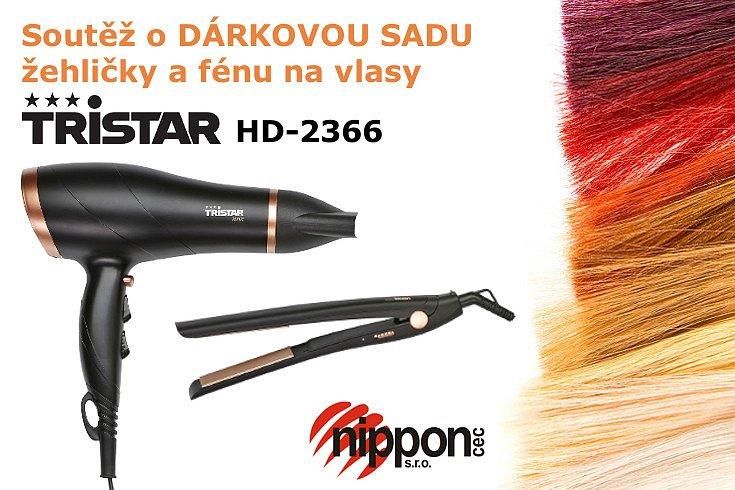 Soutěž o fén a žehličku vlasů v setu Tristar HD-2366
