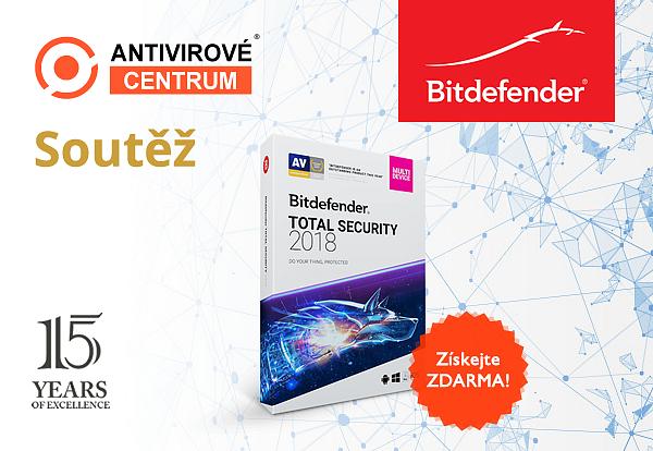 Velká šance vyhrát Bitdefender Total Security 2018 pro 5 zařízení na rok zdarma