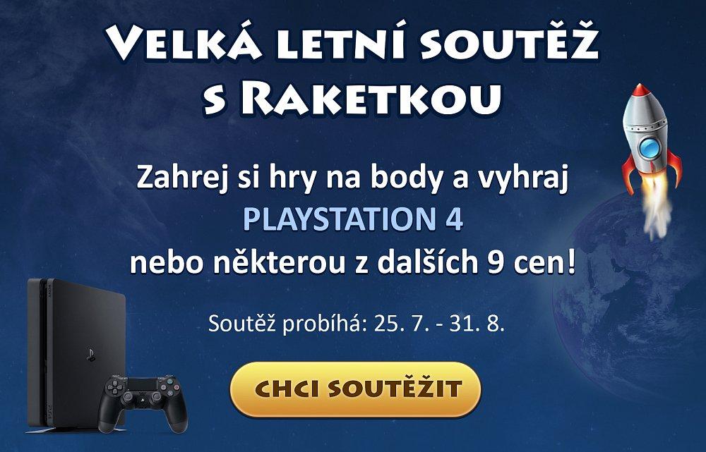 Raketka.cz - Vyhraj playstation 4 a dalších 9 cen!