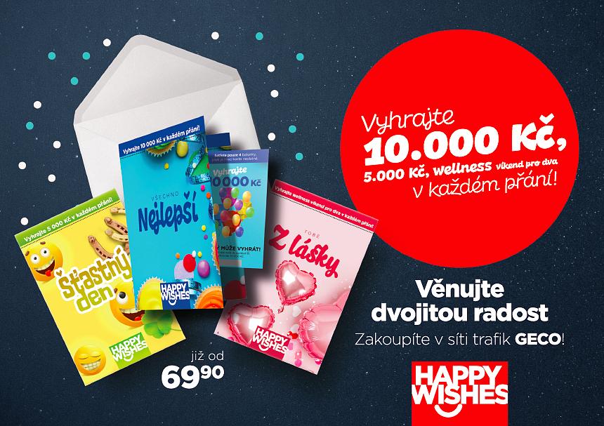 Happy Wishes - vyhraj 10.000 Kč, 5.000 Kč nebo wellness víkend pro dva v každém přání!